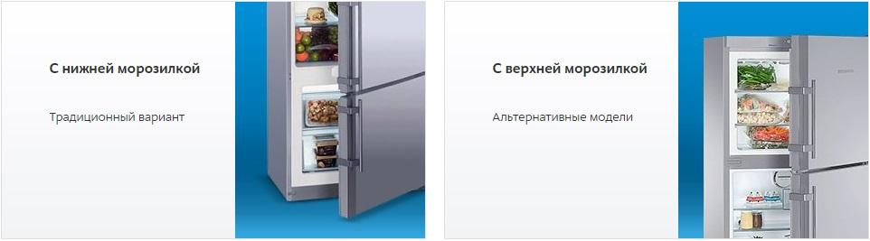 Расположение морозильной камеры